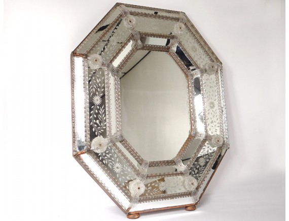 Parecloses Octagonal Mirror Venice Italy Murano Glass Flowers Ice Nineteenth