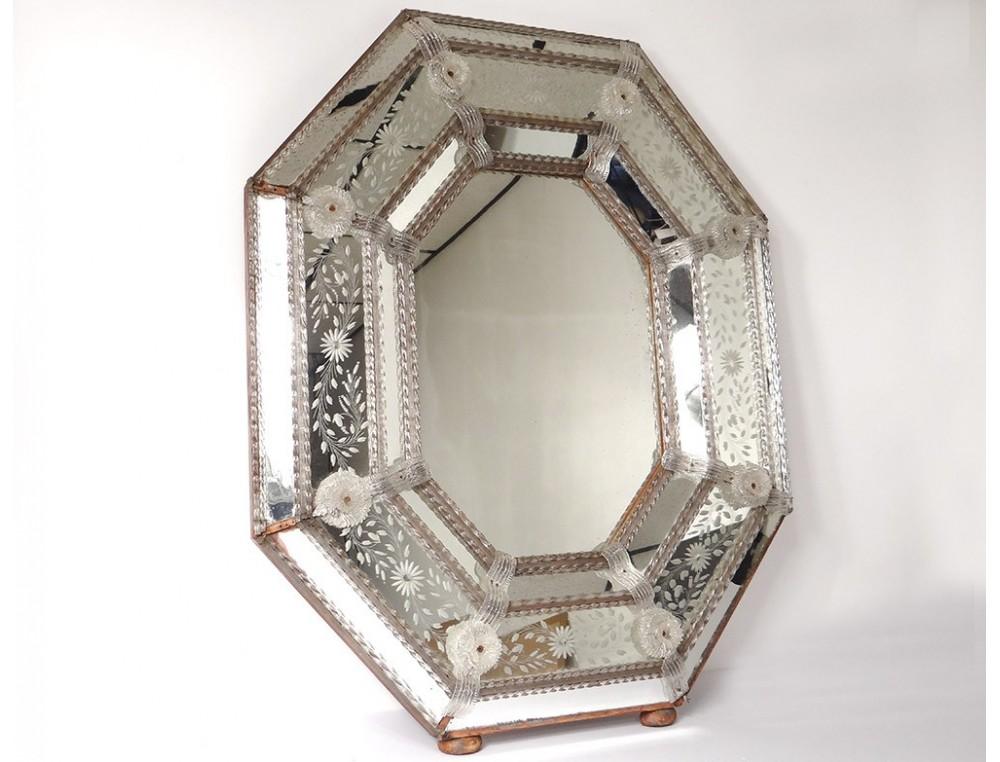 Parecloses Octagonal Mirror Venice Italy Murano Glass
