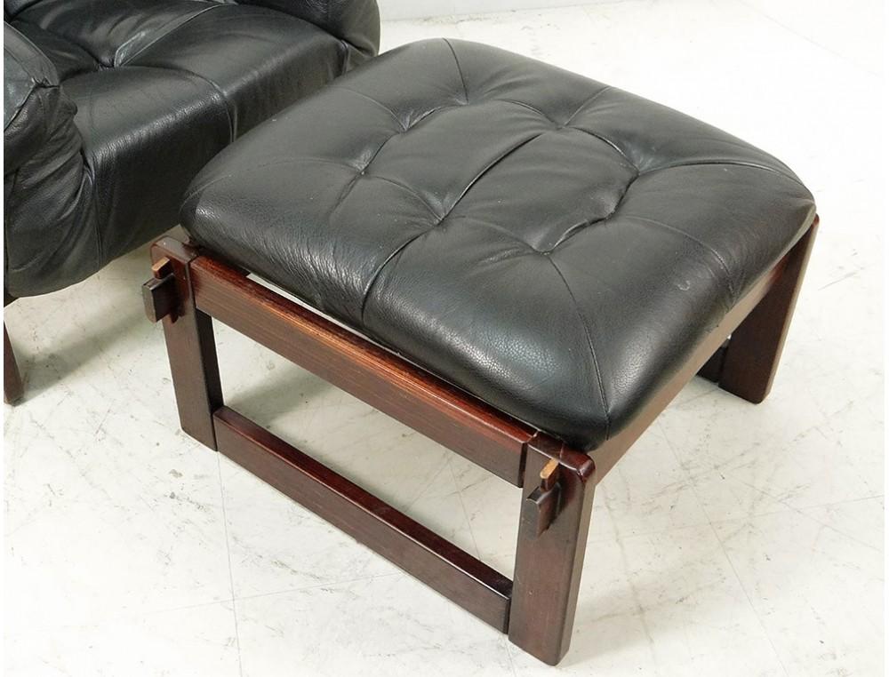 Fauteuil Lounge ottoman Percival Lafer MP-091 cuir palissandre ...