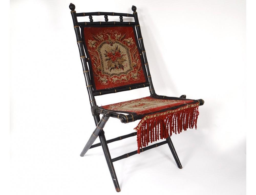 pliante tapisserie Napoléon bambou fleurs bois Chaise noirci gf76by