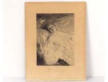 Engraving woman naked portrait engraver Charles Chaplin Champollion nineteenth
