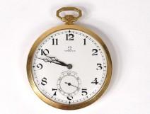 Omega pocket watch stopwatch solid gold 18-carat Art Deco Swiss twentieth