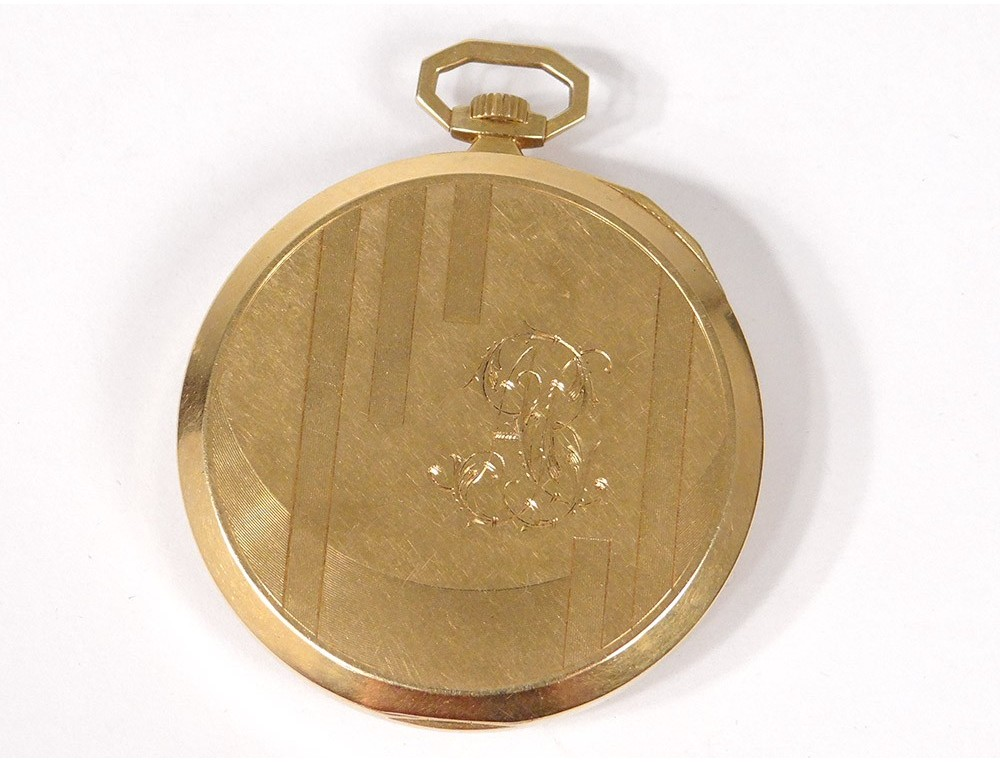 Omega Pocket Watch Stopwatch Solid Gold 18 Carat Art Deco Swiss Twentieth
