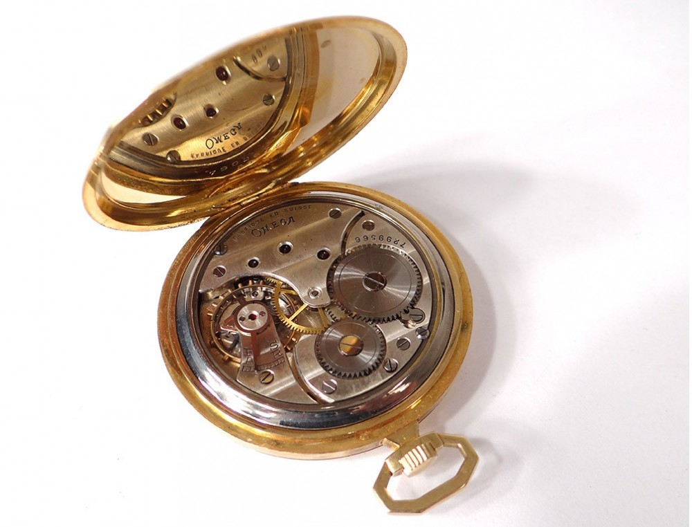 Omega Pocket Watch Stopwatch Solid Gold 18 Carat Art Deco
