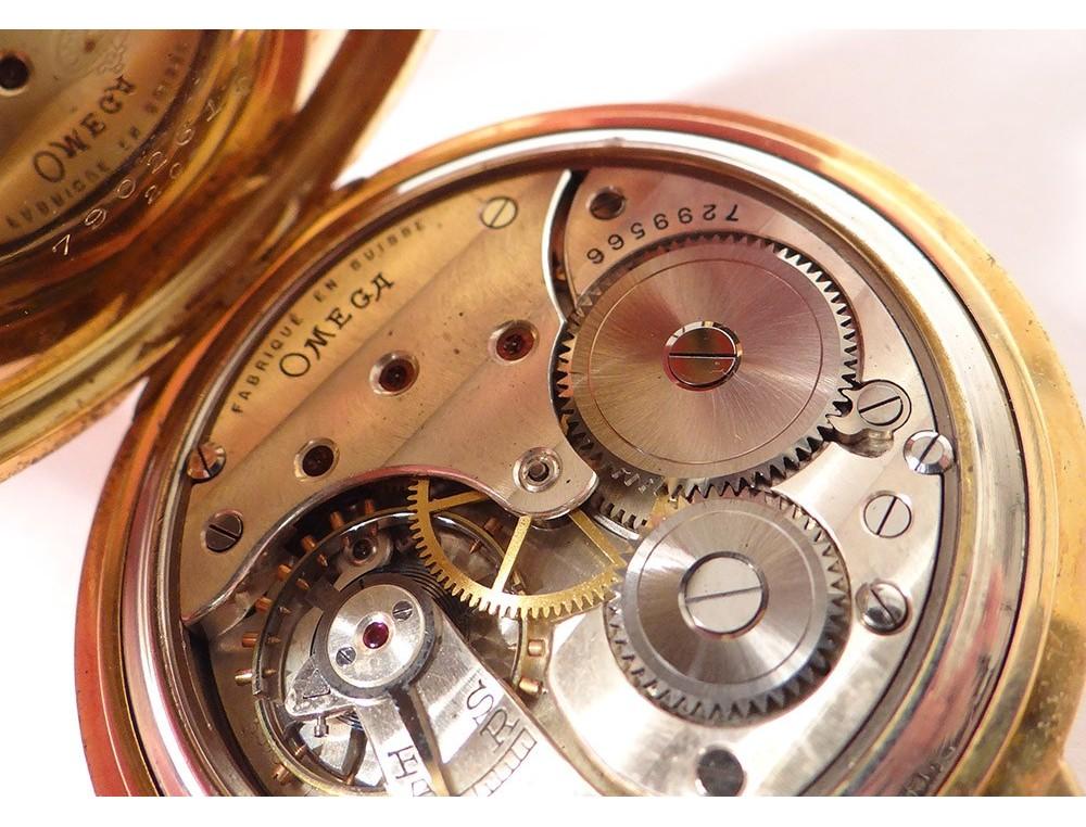 Omega Pocket Watch Stopwatch Solid Gold 18 Carat Art Deco