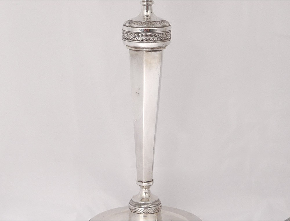 Decorative Arts Pair Of Candle Holders Candlesticks 19th Pattern Palm Leaves We Have Won Praise From Customers