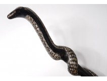 old wooden cane blackened pearl cobra cobra snake cane ancient XIX