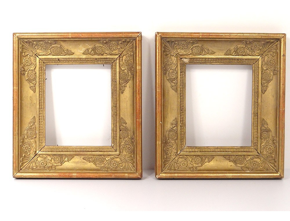 pair small wooden empire frames frame stuccoed golden palmettos nineteenth century