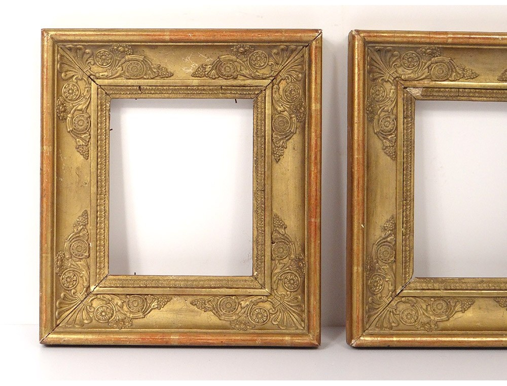 Pair Small Wooden Empire Frames Frame Stuccoed Golden