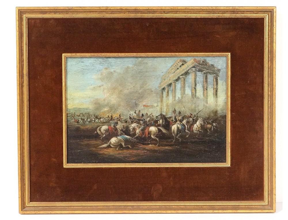 Oil On Copper War Battle Knights Ancient Greek Temple