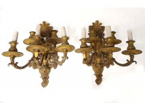 Pair large sconces 5 bronze Regency lights golden masks nineteenth