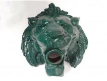 Fountain lion head mouth painted cast iron nineteenth century