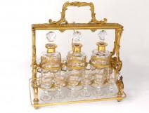 Cellar bronze golden liquor decanters 3 10 crystal glasses nineteenth gilding cellaret