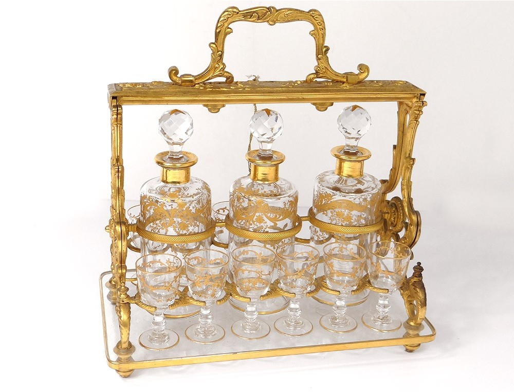 cellar bronze golden liquor decanters 3 10 crystal glasses nineteenth gilding cellaret. Black Bedroom Furniture Sets. Home Design Ideas