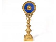 gilt bronze cherub child pilot pendulum clock glass palmettos nineteenth