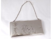 Russian small solid silver evening bag Moscow palm elephant twentieth 323gr