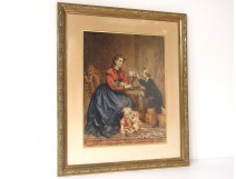 Watercolor portrait woman mother and children bourgeois globe F. Genaille nineteenth
