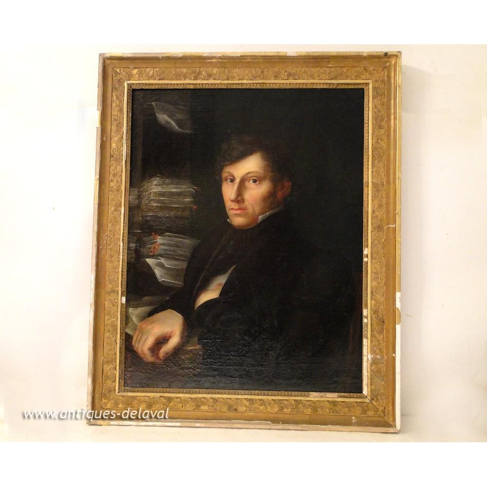 hst peinture portrait jeune homme crivain 1er empire xixe. Black Bedroom Furniture Sets. Home Design Ideas