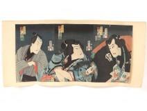 Ukiyo-e Woodblock Kunichika Toyohara actors Edo Kabuki Theater 19th