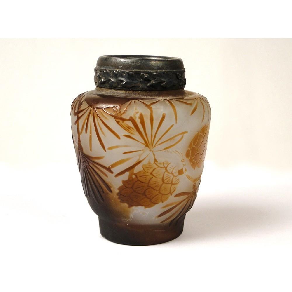 vase en p te de verre sign emile gall d cor de feuilles et pommes de ebay. Black Bedroom Furniture Sets. Home Design Ideas