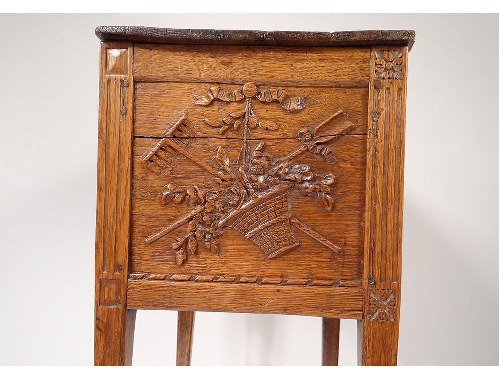 table de chevet rustique rideau chne sculpt fleurs louis xvi xviiime - Table De Nuit Rustique