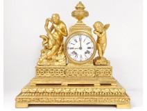 gilded pendulum goddess Hygeia snake cherub Eros Cupidon clock XVIII