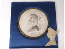 Sculpture low-relief profile young woman elegant L.Kley plaster earth XIXth century