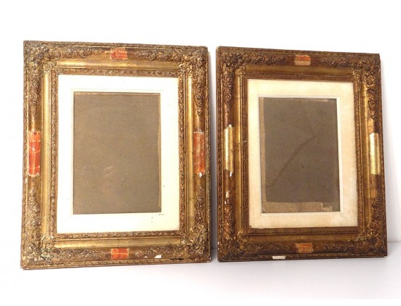 Stucco On Frame : Pair of wood frames stucco gilt antique french frame th