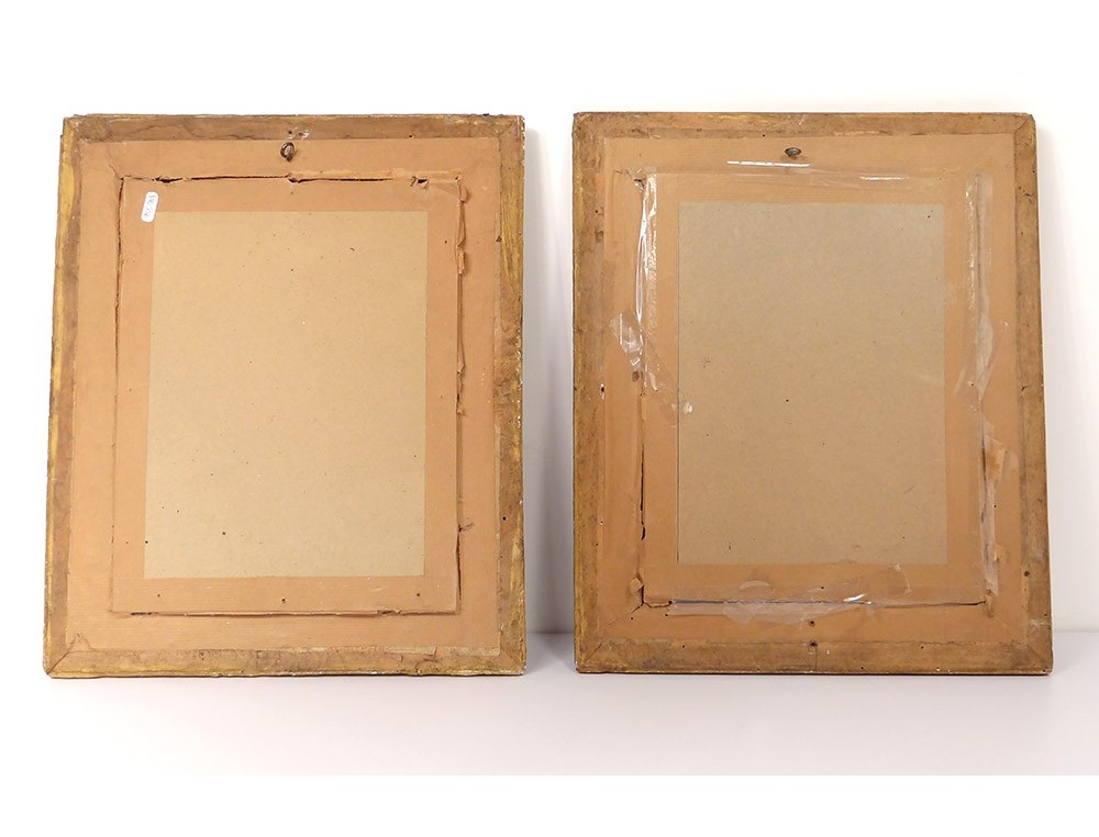 Pair of wood frames stucco gilt antique french frame 19th century