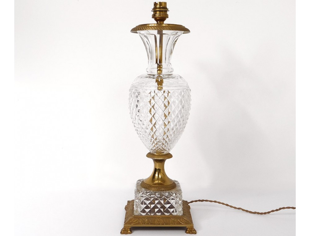 Pied De Lampe Empire Vase Cristal Taille Pointes Diamant Bronze Dore