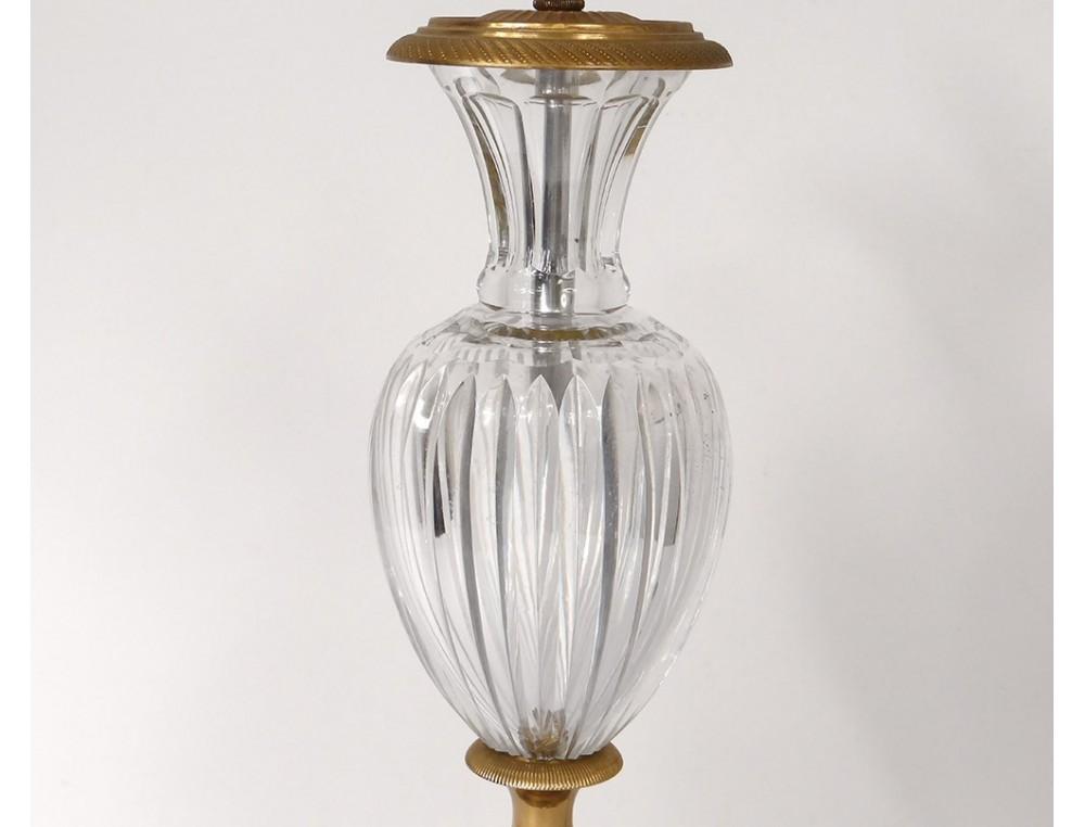 Pied De Lampe Empire Vase Balustre Cristal Taille Bronze Dore Xxeme