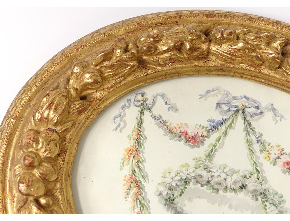 Small Frame Oval Wood Carved Gilded Foliage Frame 18th Century