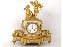 Pendulum gilt bronze white marble Cupid Romantic Quid XIV