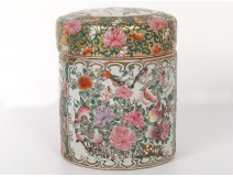 Pot covered porcelain chinese characters palace flowers Yong Tang XXth