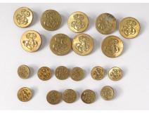 Lot 20 buttons of uniform livery monogram gilt brass collection XIXth