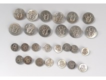 Lot 27 buttons of uniform livery monogram WB silver silver Agry XIX