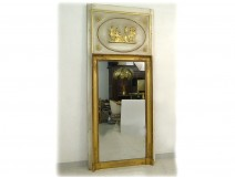 Trumeau Empire wood stucco gilt painted antique mirror mirror 19th