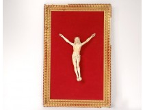 Christ crucifix ivory carved German work gold frame cross XVIIIth c.