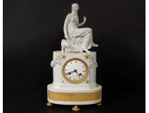 Pendulum Charles X biscuit bronze woman antique fountain kid clock XIXth