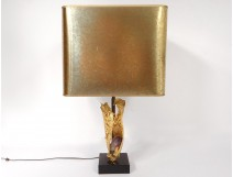 Lamp Willy Daro bronze gilt amethyst marble black design 1970 XXth century