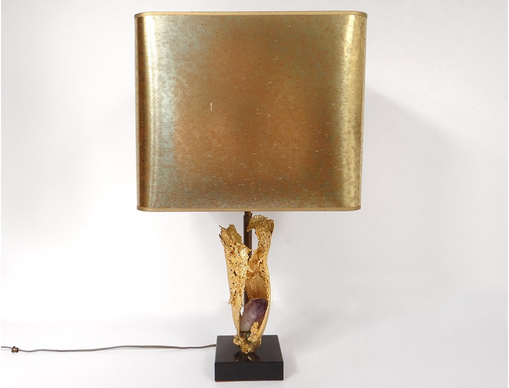 Lamp Willy Daro Bronze Gilt Amethyst Marble Black Design