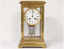 Pendulum cage golden brass beveled glasses Japy Frères french clock XIXth c.