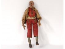 Santon Neapolitan wood polychrome bald man sculpture XVIIIth century