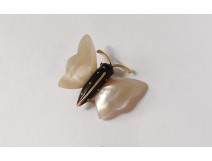 Small brooch miniature butterfly mother-of-pearl gold jewelry 20th century