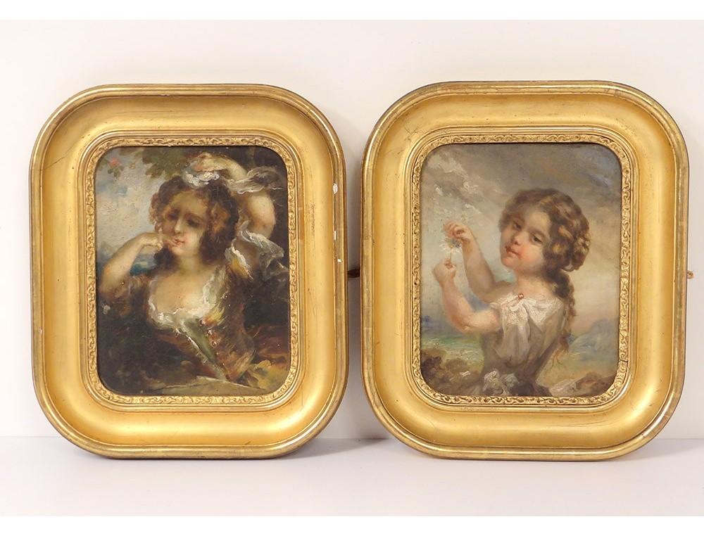 Paire Hsc Tableaux Portraits Jeunes Filles Paysages Cadres Dorés
