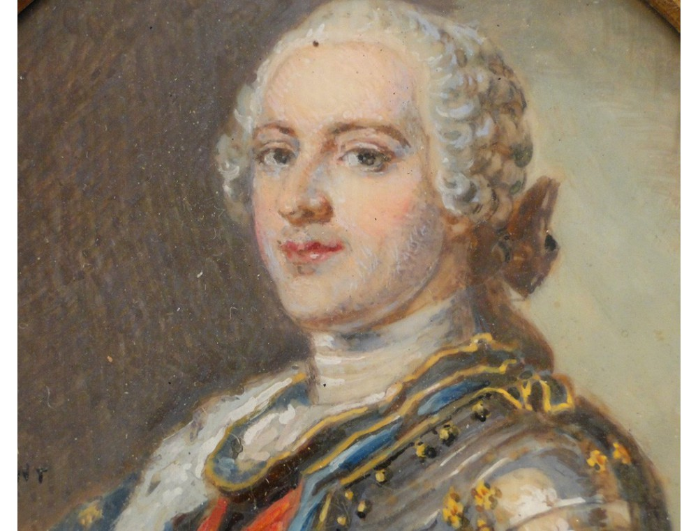 Miniature Painting On Ivory King Louis Xv Of The