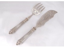 Fish service silver filled with Minerva goldsmith Huignard Art Nouveau XIXth c.