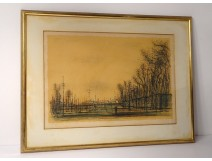 Lithograph Jean Carzou landscape character city trees 1959 20th century