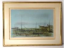 Lithograph Jean Carzou landscape stranded boats beach sea 1959 20th century