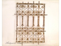 Window grille Moroccan wrought iron and painted wood, twentieth